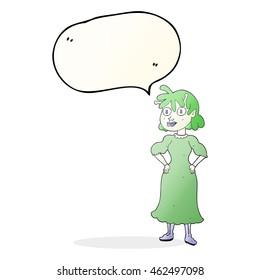 freehand drawn speech bubble cartoon alien woman