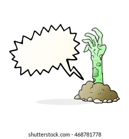 freehand drawn speech bubble cartoon zombie hand rising from ground