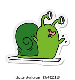 freehand drawn sticker cartoon of a slimy snail