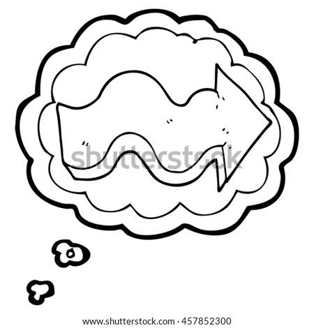 Freehand Drawn Thought Bubble Cartoon Arrow Stock Illustration