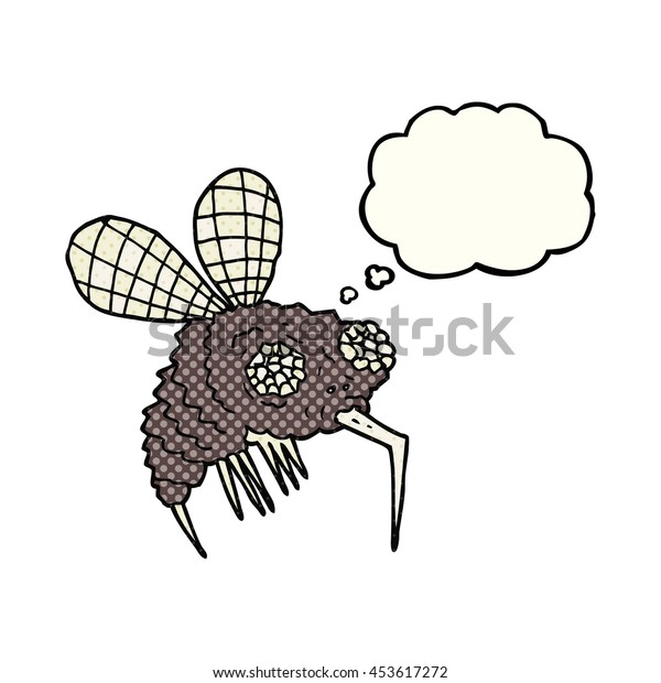 freehand drawn thought bubble cartoon fly