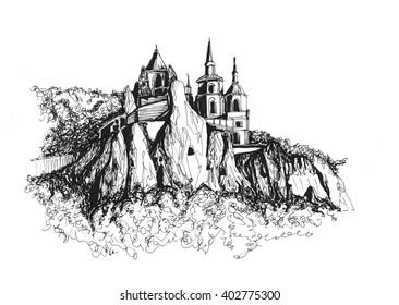Freehand ink drawing. Lavra of the Holy Dormition. Sviatohirsk, Ukraine.