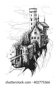 Freehand ink drawing. Lichtenstein castle, Germany.