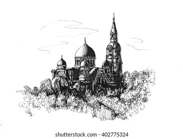 Freehand ink drawing. Monastery of the Transfiguration of the Saviour. Valaam, Russia.