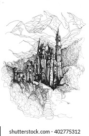Freehand ink drawing. Neuschwanstein castle, Germany.