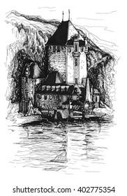 Freehand ink drawing. Oberhofen castle. Switzerland.