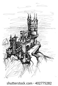 """Freehand ink drawing. """"Swallow's nest"""" castle, Crimea."""