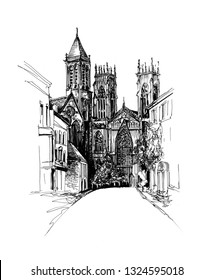 Freehand ink drawing of York with York Minster