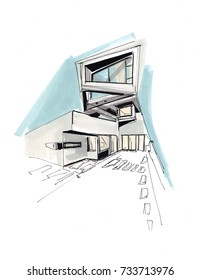Freehand marker sketch of modern architecture in concrete