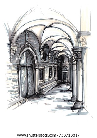 Freehand marker sketch of Rector's Palace in Dubrovnik Croatia