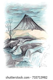 Freehand marker sketch of waterfall landscape in Scotland