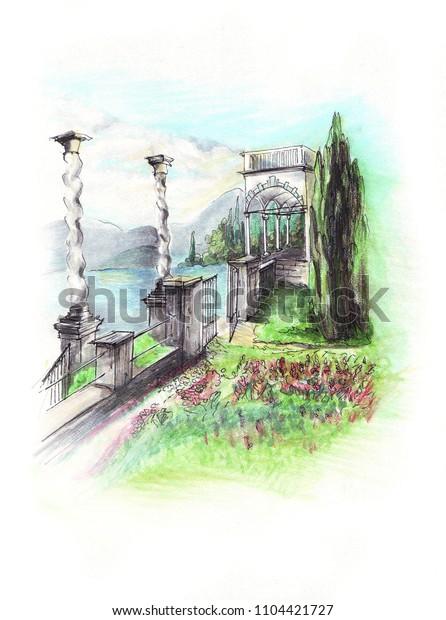 Freehand mixed media sketch of Villa Monastero at Como lake in Italy