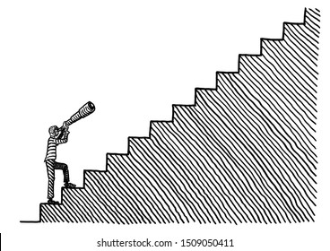 Freehand pen drawing of a business man standing at the bottom of a stairway looking up through a telescope. Metaphor for vision, acumen, goal setting, career aspiration, road to success, foresight.