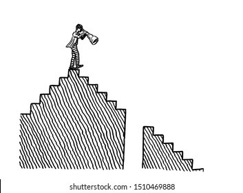 Freehand pen drawing of business man atop a staircase observing difficulties in the descending way ahead down a flight of stairs. Metaphor for planning, recognizing adversity, recession, decline.