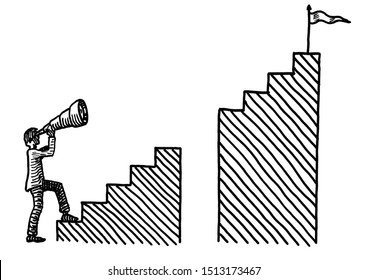 Freehand pen drawing of a business man aiming a telescope at the goal post on top a staircase with a gaping gulf in it. Metaphor for corporate objective, anticipating adversity, planning, investment.