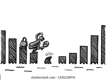 Freehand pen drawing of business man spotting shark dorsal fin as the next stepping stone in a drawn growth bar chart. Metaphor for risk detection, recognizing future problems, forecasting, trouble.