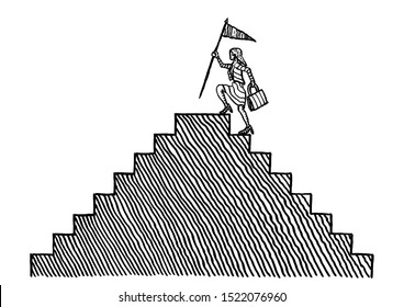 Freehand pen drawing of business woman reaching top of stairs ready to plant a summit flag. Metaphor for career ladder, professional achievement, financial market, challenge, motivation, winning.