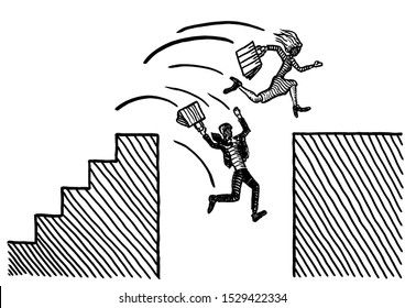 Freehand pen drawing of business woman leaping across ravine. Male rival is falling into abyss. Metaphor for emancipation, gender equality, battle of sexes, career rivalry, risk, entrepreneurship.