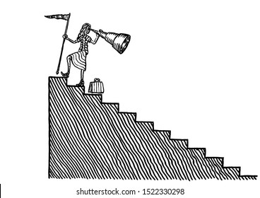 Freehand pen drawing of businesswoman looking back from goal at top of staircase. Metaphor for performance review, retrospection, throwback, achievement, flashback, hindsight, retrospect, career.