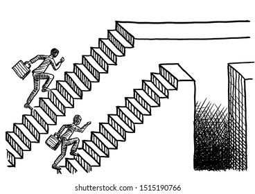 Freehand pen drawing of two man racing up two parallel flights of stairs, one ending in a plain platform, the other one featuring a deep chasm. Business metaphor for job competition, career path.