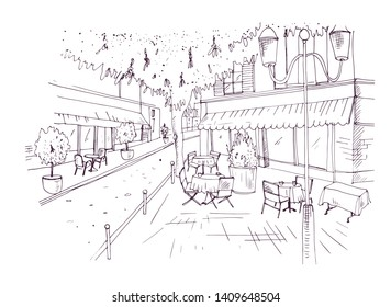 Freehand sketch of European outdoor cafe or coffeehouse with tables covered by tablecloths and chairs standing on city street hand drawn with contour lines on white background. illustration.