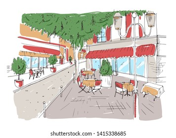 Freehand sketch of outdoor cafe or restaurant with tables covered with tableclothes and chairs standing on city street under large tree beside building. Colorful hand drawn illustration