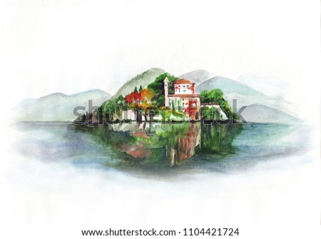 Freehand watercolor painting of Villa del Balbianello at Como Lake