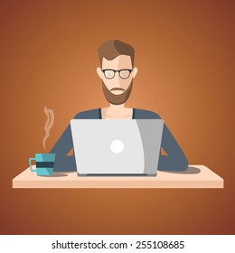 freelance job illustration. man working on internet using laptop and drinking coffee. work at home. travel and work