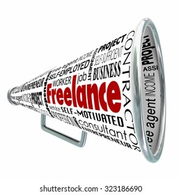 Freelance word on a megaphone or bullhorn to illustrate advertising professional independent services to find customers