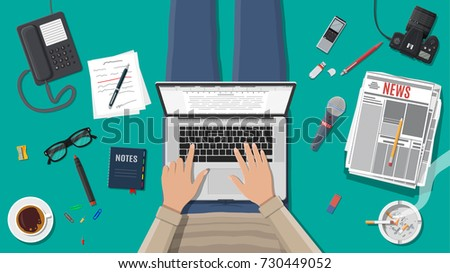 Freelance writer or journalist workplace. Laptop pc, newspaper. Paper sheets with text, pen. Ashtray, cigarette, coffee. Eyeglasses phone microphone, photo camera illustration in flat style