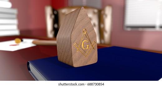 Freemason Masonic Walnut Common Gavel with engraved of Square Compasses, over mason desktop. 3D Rendering.
