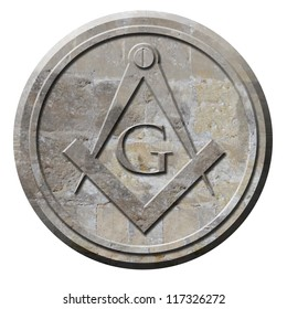 Freemason symbol of compass and square carved in stone circle
