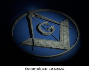 Freemasonry marble shield on blue cloth. 3D Rendering.