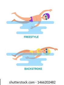Freestyle and backstroke professional swimmers. Water sport, female and male competition in different strokes. Swimming activity set with text raster