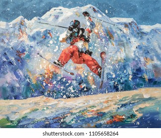 Freestyle. A skier in flight against the backdrop of the snowy mountains of the ski resort of Rosa Khutor. Painting: oil, canvas. Decorative and textured techniques on canvas. Author: Nikolay Sivenkov