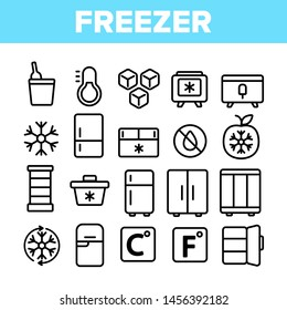 Freezer, Cooling Appliance Linear Icons Set. Frosting and Icing Thin Line Contour Symbols. Cold Storage Pictograms. Refrigerator, Fridge, Ice Chest. Deep Freeze Outline Illustrations Pack