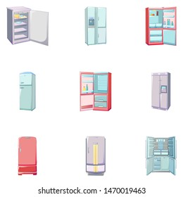 Freezer icons set. Cartoon set of freezer icons for web design