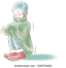Freezing woman in winter cloth isolated on a white background, high resolution JPEG