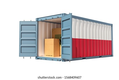 Freight Container with Poland flag isolated on white - 3D Rendering