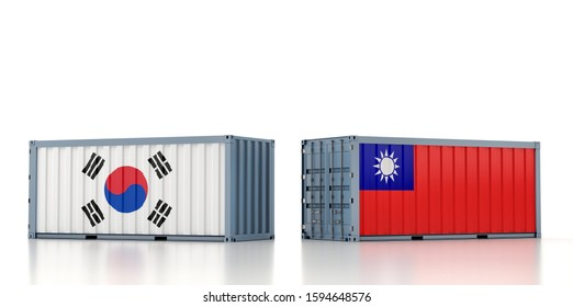 Freight container with South Korea and Taiwan national flag. 3D Rendering
