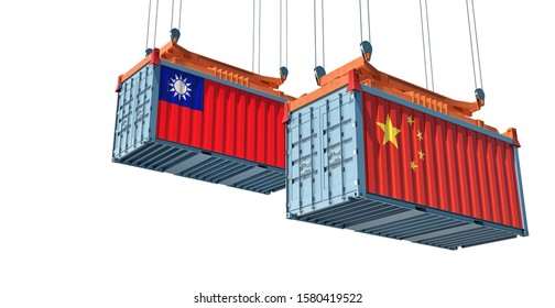 Freight container with Taiwan and China national flag - isolated on white. 3d rendering