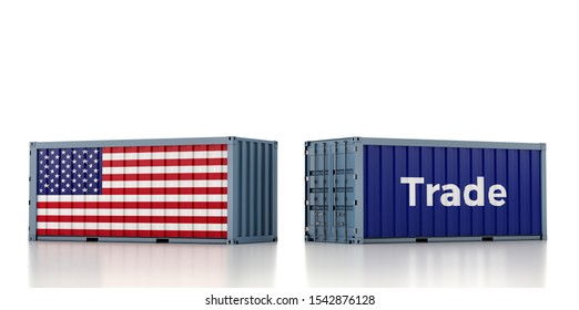 Freight Container with USA flag isolated on white - 3D Rendering