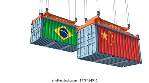 Freight containers with Brazil and China flag. 3D Rendering