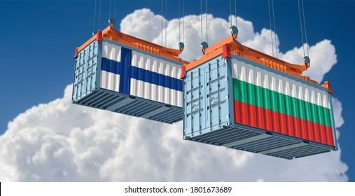 Freight containers with Bulgaria and Finnland flag. 3D Rendering