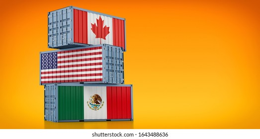 Freight containers with Canada, USA and Mexico national flags - NAFTA North American Free Trade Agreement - 3D Rendering