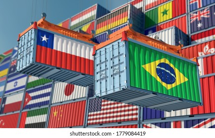 Freight containers with Chile and Brazil flag. 3D Rendering