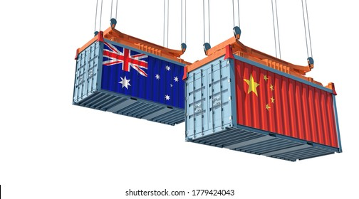 Freight containers with China and Australia flag. 3D Rendering