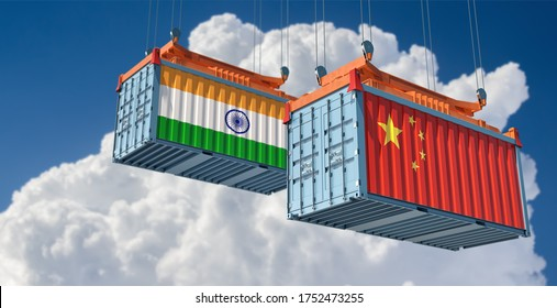 Freight containers with China and India flag. 3D Rendering