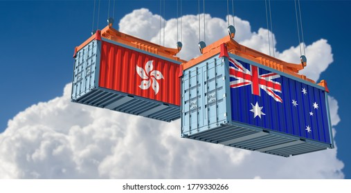 Freight containers with Hong Kong and Australia flag. 3D Rendering