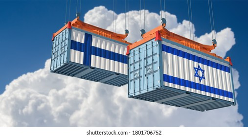 Freight containers with Israel and Finnland flag. 3D Rendering